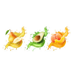 pear avocado peach fresh fruits and splashes vector image