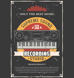 Piano keyboard music and sound recording studio vector