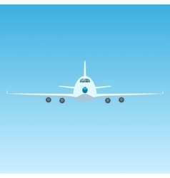 Plane in the Sky Front View of Airplane vector image
