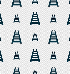 Railway track icon sign Seamless pattern with vector