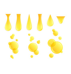 realistic oil drops dripping drop honey yellow vector image