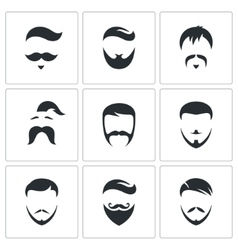 Retro Mens Hair Styles icon set vector image
