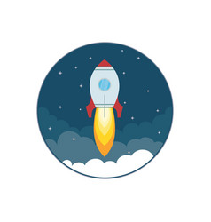 rocket ship in a flat style business start up vector image