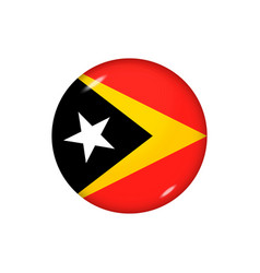 Round flag east timor button vector