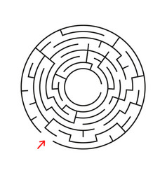 round labyrinth with the entrance and exit an vector image