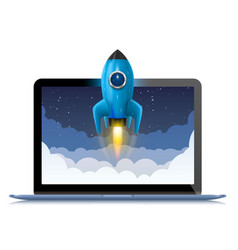 running a space rocket from a computer splash vector image