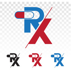 Rx medical pharmacy medicine flat icons or logo vector