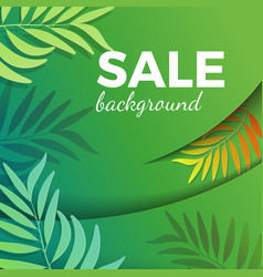 sale background with green leaves in realistic vector image