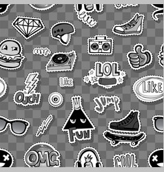 Seamless pattern with hipsters teens doodles vector