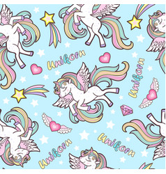 seamless pattern with unicorns for childrens vector image