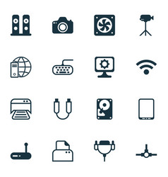 Set of 16 computer hardware icons includes camera vector
