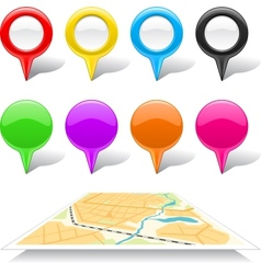 Set of map markers and abstract map vector