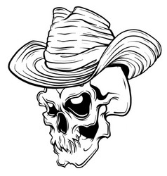 skull in black cowboy s hat vector image