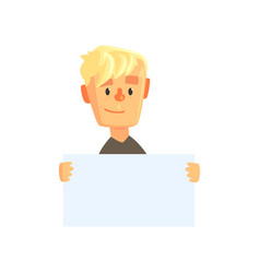 smiling teen boy character with piece of blank vector image