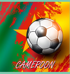 Soccer ball on cameroon flag background vector