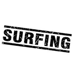 Square grunge black surfing stamp vector