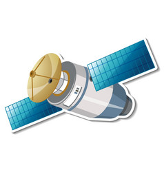 Sticker template with satellite in cartoon style vector