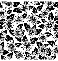 sunflower flower black isolated seamless vector image