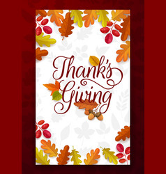 thanks giving greeting card fallen leaves vector image