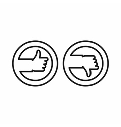 Thumbs up and down buttons icon outline style vector image