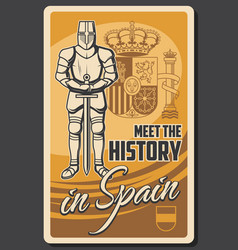 travel to spain knight armor and weapon vector image