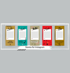 trendy editable templates for instagram stories vector image