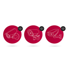 video surveillance linear icons set in red circle vector image