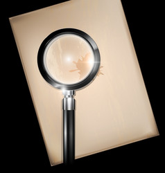 Vintage sheet of paper with magnifier vector