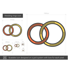wedding rings line icon vector image