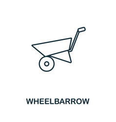 Wheelbarrow icon thin line style element from vector