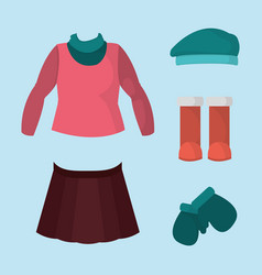 Winter girl clothes to cold weather vector