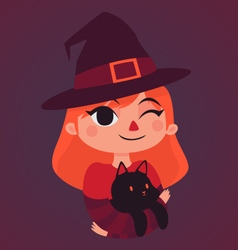 Witch Girl Holding a Black Cat vector image