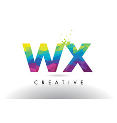 Wx w x colorful letter origami triangles design vector