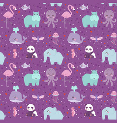 Animals cartoon wildlife nature seamless pattern vector