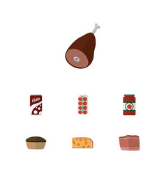 Flat icon eating set of beef meat tart and other vector
