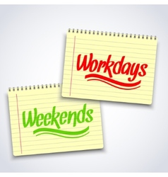 Realistic spiral weekends workdays notebook vector image vector image