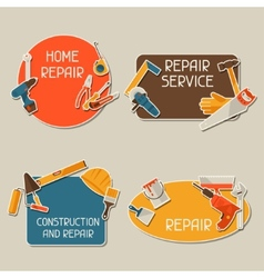 Repair and construction stickers set with working vector image