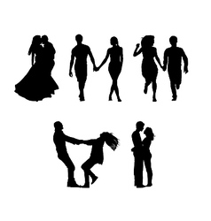 silhouettes of couples in love vector image