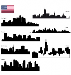 usa skyline silhouettes vector image