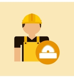 Character construction man with sawmill vector