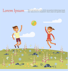 children are jumping vector image vector image