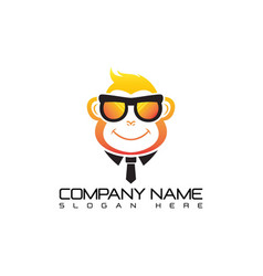 geek monkey logo template vector image vector image