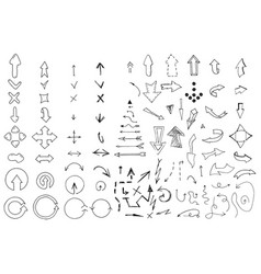 hand drawn arrows collection vector image vector image