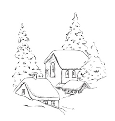 Winter background house and tree in the snow vector image vector image