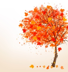 Autumn background with colorful leaves and a tree vector image vector image