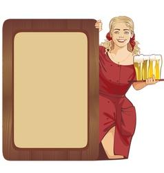 blond waitress beer vector image vector image