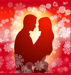 couple over christmas background with snowflakes vector image