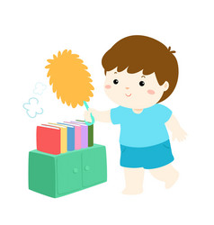 cute boy wiping the dust from bookshelf vector image