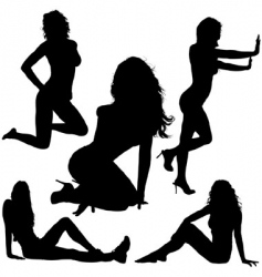 girl silhouettes vector image vector image