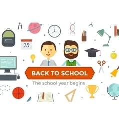 Set of education objects and characters vector image vector image